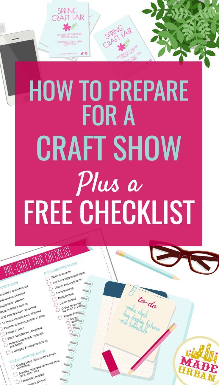 All the little details to think about when prepping for a craft show. A detailed explanation plus a free checklist for preparing for a craft fair.