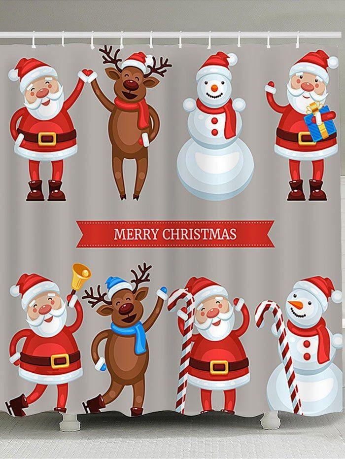 Waterproof Santa Snowman Elk Printed Christmas Shower Curtain in