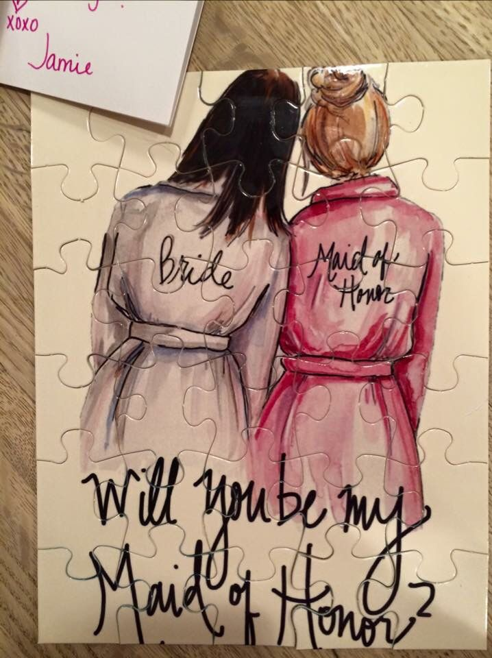 """You're my missing piece....will you be my maid of honor?"" The puzzles I gave to my girls! Illustrated by April Heather Davulcu Visit her Etsy Page or her website http://www.aprilheatherart.com"