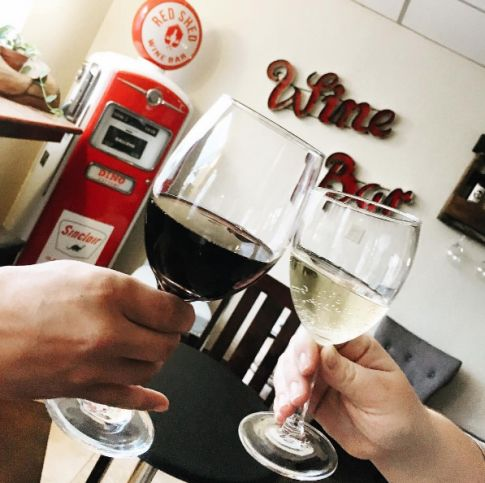 Red Shed Wine Bar stocks a seasonal selection of wines in Weatherford, Oklahoma. Guests can sip on a glass, flight or bottle of wine while munching on cheese and snacks.