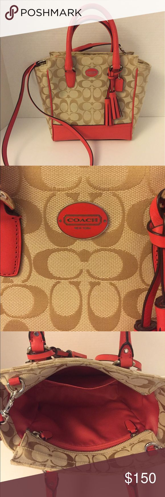 "Coach Legacy Mini Tanner with Signature Pattern Gently Used.  Coach Legacy Mini Tanner Purse.  Approx 9.5""W x 8.25""H x 3.5""D. 4"" dual handle drop. Optional shoulder strap drop 23"". Zip top closure. Interior zip pocket. Exterior rear zip pocket. Twill lining. Tassel and logo charm detail.  Comes from a Smoke Free/Pet Free Home. Coach Bags Satchels"
