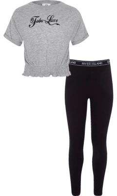 f0a4491ac2bb43 Girls Grey T-shirt and RI leggings outfit #luxe#print#Short | Home ...