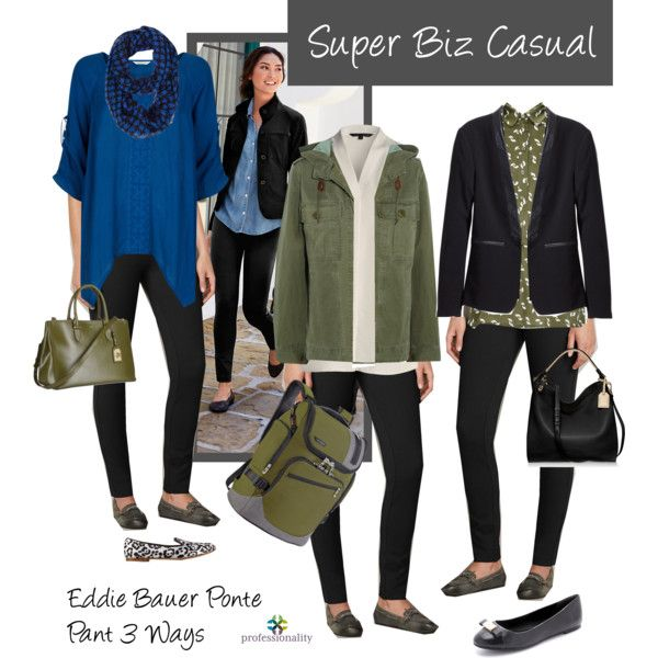 Biz Casual: Eddie Bauer Ponte Pant 3 Ways by professionality on Polyvore featuring Monsoon, NIC+ZOE, J.Crew, H&M, MARC BY MARC JACOBS, Giuseppe Zanotti, Briggs & Riley, Reed Krakoff and Lauren Ralph Lauren