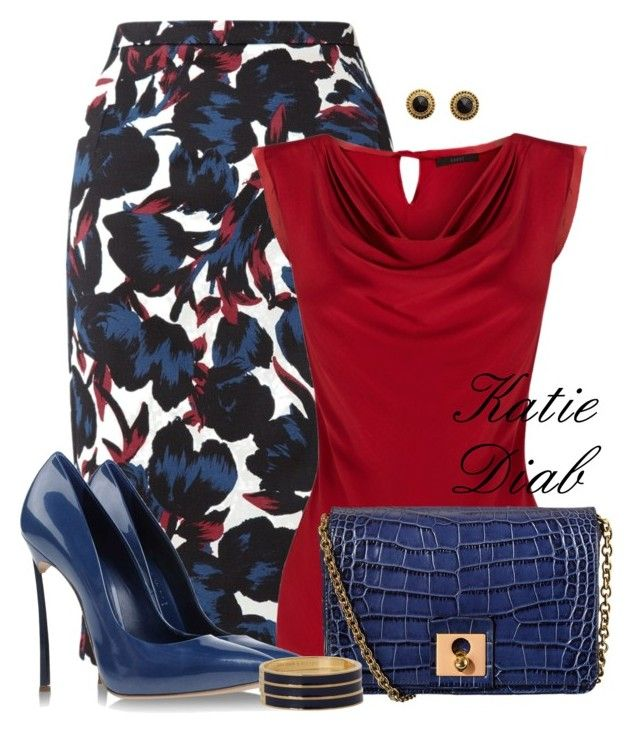 """""""Blue&Red Floral"""" by katiediab ❤ liked on Polyvore featuring Jigsaw, Coast, Casadei, Orla Kiely, Charlotte Russe and Kate Spade"""