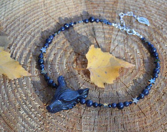 Collier loup Goldstone Bleu verre aventuriné bijoux étoile