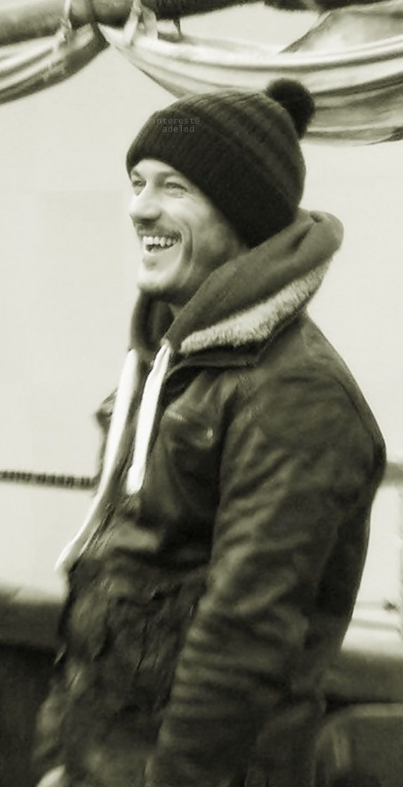Luke Evans bundled up like a handsome winter burrito. (Let's pretend ...