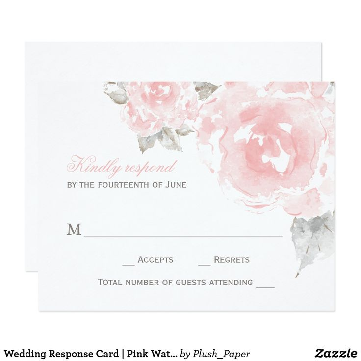Wedding Response Card | Pink Watercolor Roses Elegant and romantic floral wedding RSVP card design features soft pink roses with green / gray leaves that have a beautiful watercolor painted appearance. Personalize the blush pink and pewter gray text with your wedding reply due date.