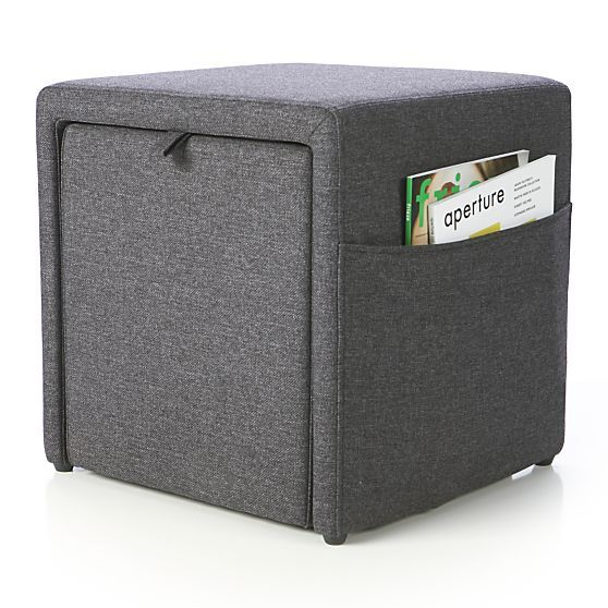 Stash Grey Storage Ottoman in New Organizing & Storage | Crate and Barrel