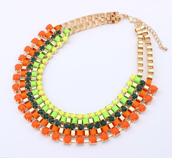 Neon tennnis necklace