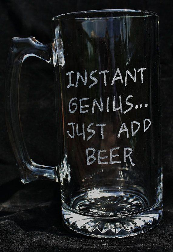 Beer Mug Instant Genius Just Add Beer by AliceCreations on Etsy