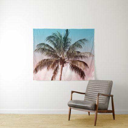 Rainbow Palm Tree II Beach Photo Tapestry - vintage gifts retro ideas cyo