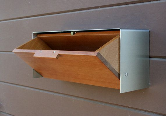 Modern Mailbox Cedar and Stainless Steel Mailbox by CeCeWorks - Possible to add house numbers