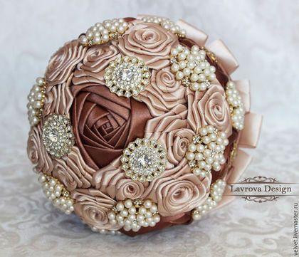"""Свадебные цветы ручной работы. Букет Невесты """"Сhocolate"""". Надежда Лаврова. Ярмарка Мастеров. Свадьба, кристаллы"""