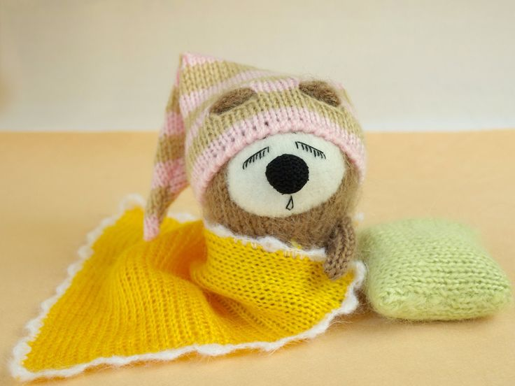 Snoozy bear with Blanket & Pillow Hand-knitted Toy Amigurumi bear Miniature Wool bear Handmade crochet toy bear stuffed Halloween decor by MiracleStore on Etsy