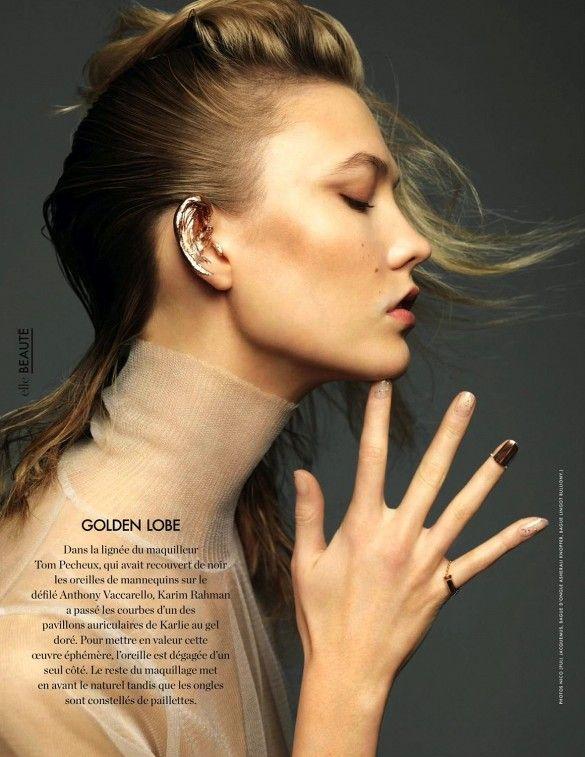 Golden ear cuff + nail art // Karlie Kloss for Elle France shot by Nico