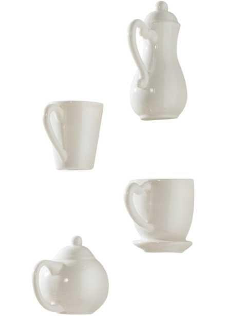 """Decorazione da parete """"Caffè"""" (set 4 pezzi), bpc living, Bianco"""