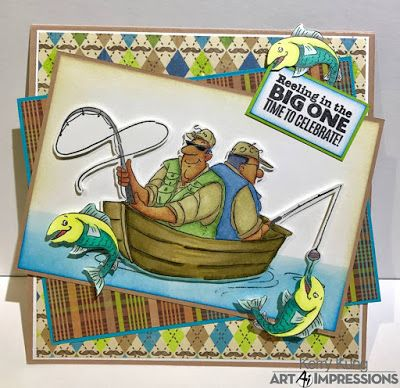 Art Impressions Rubber Stamps: Ai Work and Play: 4900 – Reel Great Guys Set ... handmade fishing card. masculine