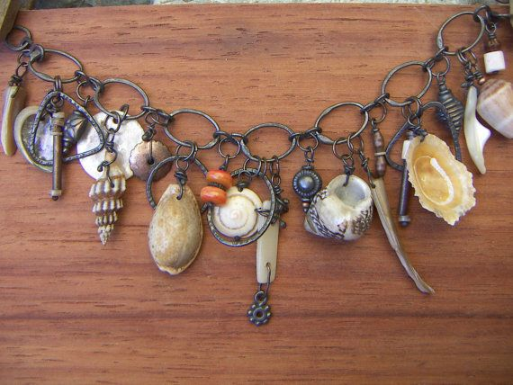 Natural Shell Copper Beach Bracelet by annamei on Etsy,