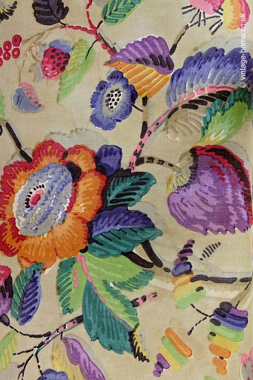 1920's Fabric Print in Bloomsbury Style~Image © Vintage Home.