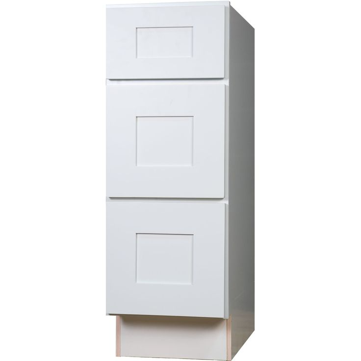 Bathroom vanity three drawer base cabinet in shaker white for Bathroom furniture drawers