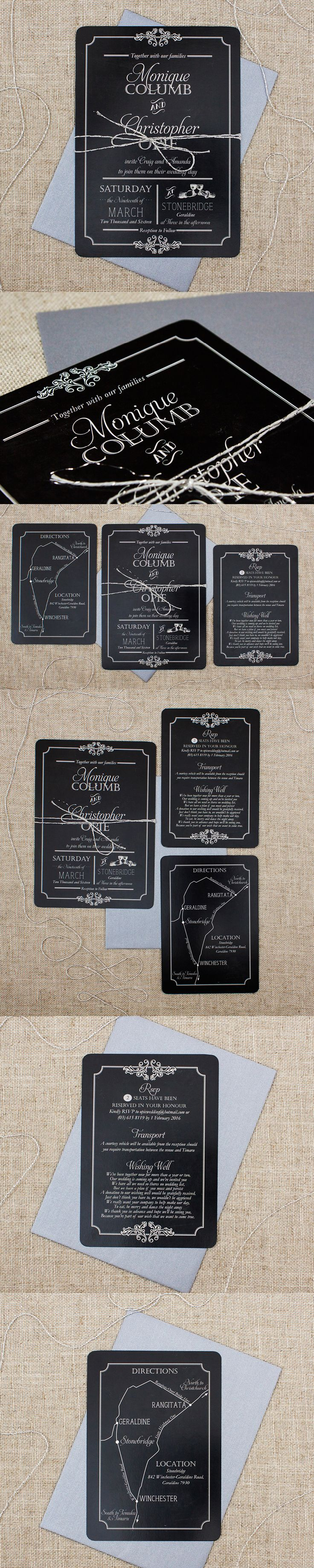 Vintage Chalkboard Wedding invitations with map to venue and rsvp card nz