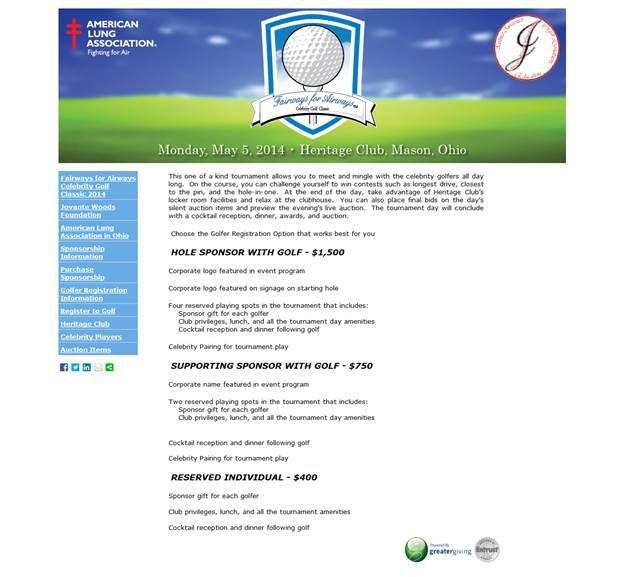 golf website build out of Greater Giving Event Software online.  https://alamid.ejoinme.org/MyEvents/FairwaysforAirwaysCelebrityGolfClassic2014/GolferRegistrationInformation/tabid/507027/Default.aspx