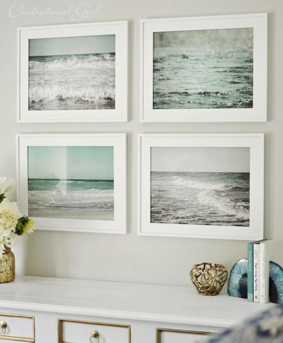 set of framed beach prints. You could take your own photos of the beach and frame them. I love how they alternate the black and white prints