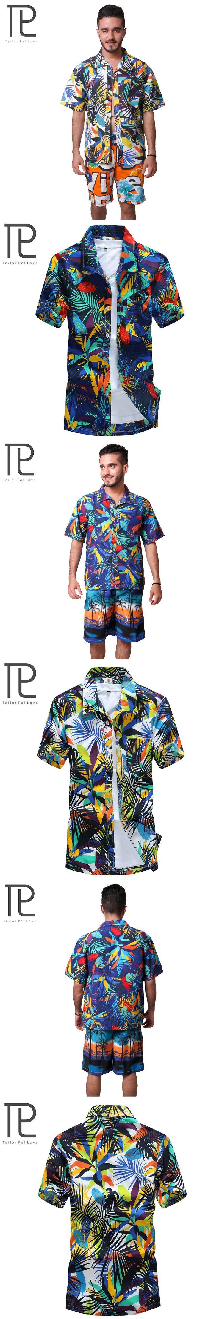 Tailor Pal Love 2017 Summer Mens Hawaiian Shirt Casual Printing Designer Short Sleeve Beach Shirts For Men
