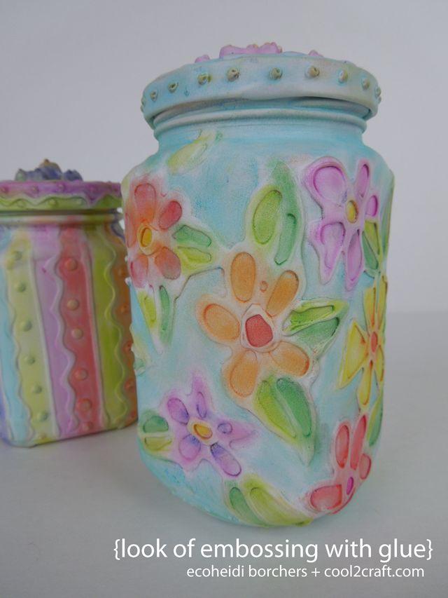 P Heidi Look de aliviar w La mirada de la Grabación es aliviar el aire el pegamento en los tarros de cristal porción EcoHeidi Borchers arte de DIY