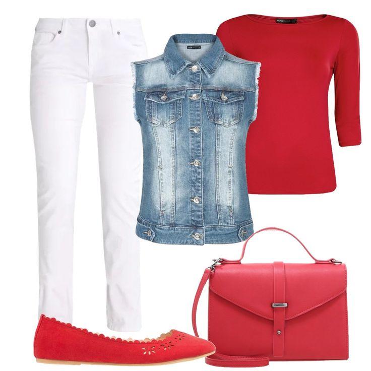 Outfit composto da jeans slim fit bianchi con vita normale. T-shirt aderente con maniche 3/4 rossa e scollo a barca. Gilet in jeans aderente con tasche decorative. Ballerine rosse in tessuto con punta tonda e per finire ho inserito una borsa a mano rossa in fintapelle e chiusura con fibbia a scatto.