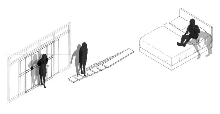 - Grace, Nuntaporn Kusalasaya - ID 5634754125 - Assignment 1.1 Taxonomy of Physical Interaction With Funiture - The drawing describes the interaction between human body and furniture, from sliding the door, entering the door, walking on the stair and lying on the bed which is my daily activity. The drawing shows the scale between human body and furniture that relates to each other.