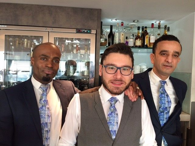 The dapper waiting staff at the National Portrait Gallery wearing our Cezanne Lake tie, in honour of their Cezanne exhibition. #cezanne #foxandchave #art #artist #fineart #npg #nationalportraitgallery