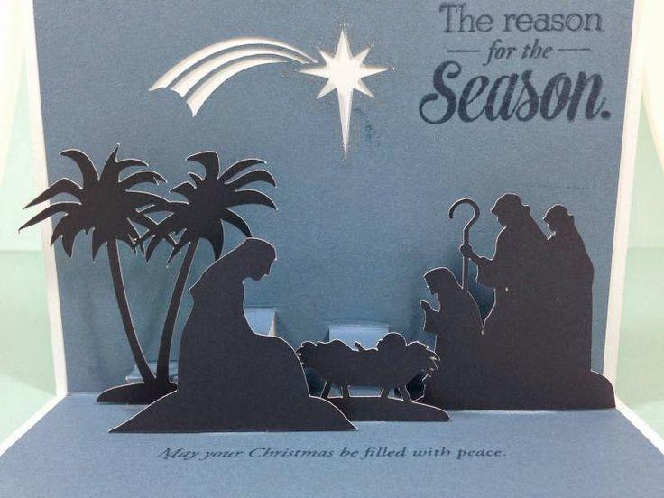 Close To My Heart Artfully Sent Cricut Cartridge Nativity Scene Pop-Up card inside