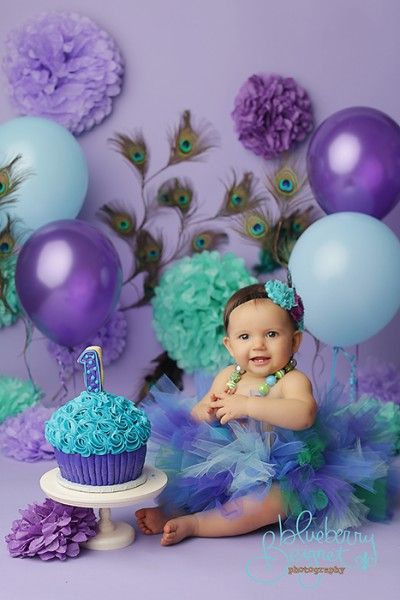 Purple and blue giant cupcake cake smash.