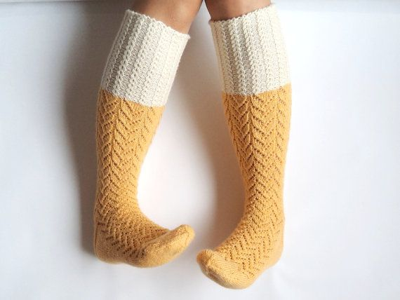 Sunshine yellow boot socks. Knee high socks. by GrietaKnits, €65.00