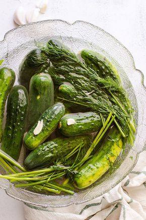 Two Day Ukrainian Garlic Dill Pickles - easy refrigerator pickles recipe with no sugar or canning but rather garlic, dill and salt. | ifoodreal.com