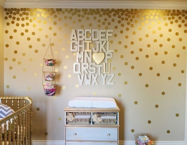 Little Lovelies: Polka Dot Confetti Wall | Nursery Decor gold decals alphabet wall changing table shabby chic girl nursery project nursery