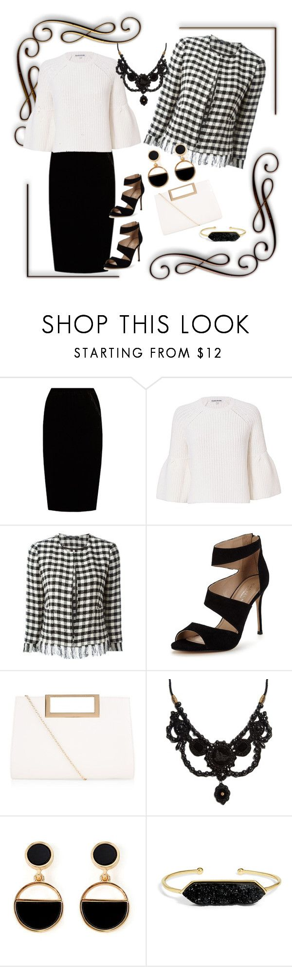 """Black And White"" by jeanstapley ❤ liked on Polyvore featuring Jupe By Jackie, Elizabeth and James, Tagliatore, Carvela, New Look, Gucci, Warehouse and BaubleBar"
