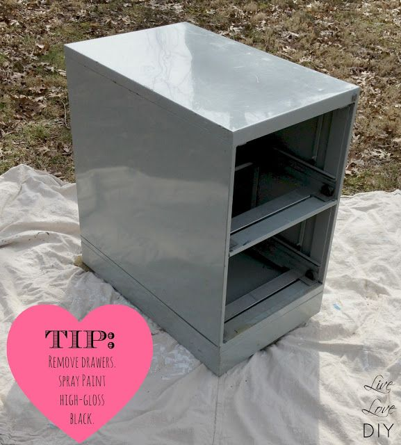 how to spray paint a file cabinet and the occasional ceramic duck. Black Bedroom Furniture Sets. Home Design Ideas
