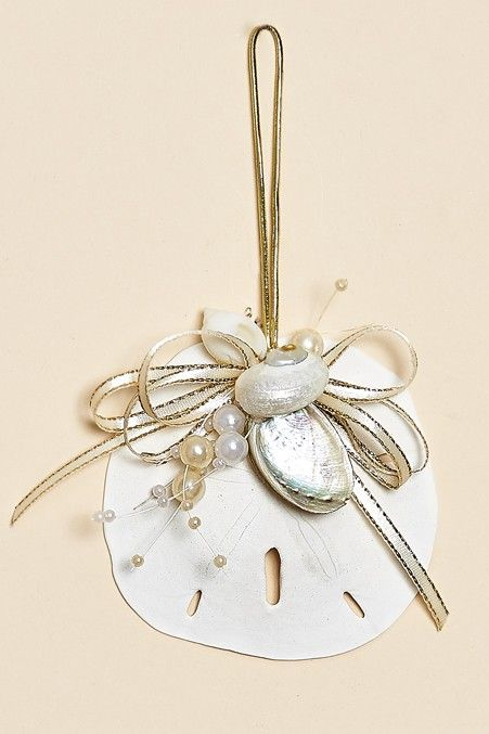 Set of 3, white sand dollar ornaments decorated with ivory-gold ribbon and beads with pearlized shells.