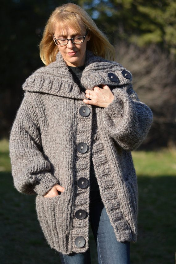 READY wool cardigan handmade wool coat knitted wool by Dukyana ...