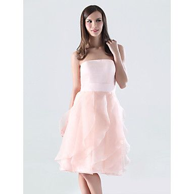 A-line Strapless Knee-length Organza Over Satin Bridesmaid/ Wedding Party Dress – US$ 87.29