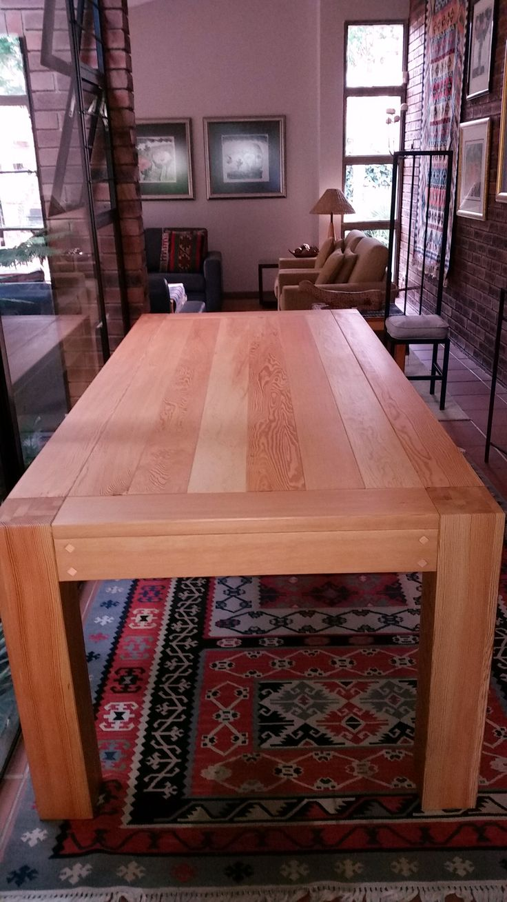 Dining room table from new Oregon Pine for Arno Hattingh