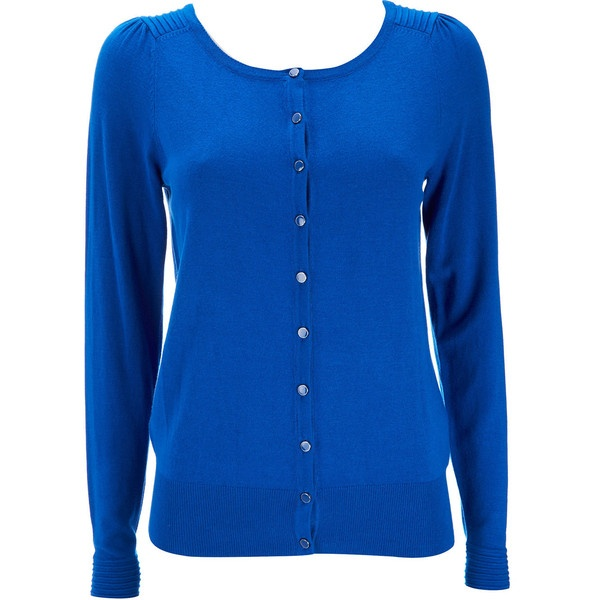Blue Short Ribbed Cardigan ($26) ❤ liked on Polyvore