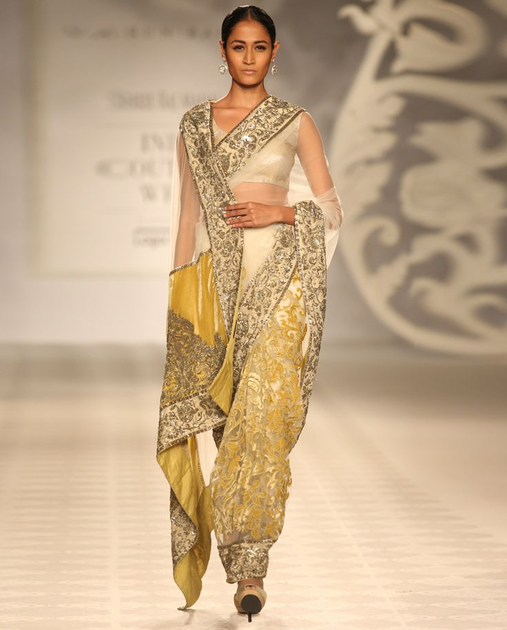 Yellow Sari with Dabka Work