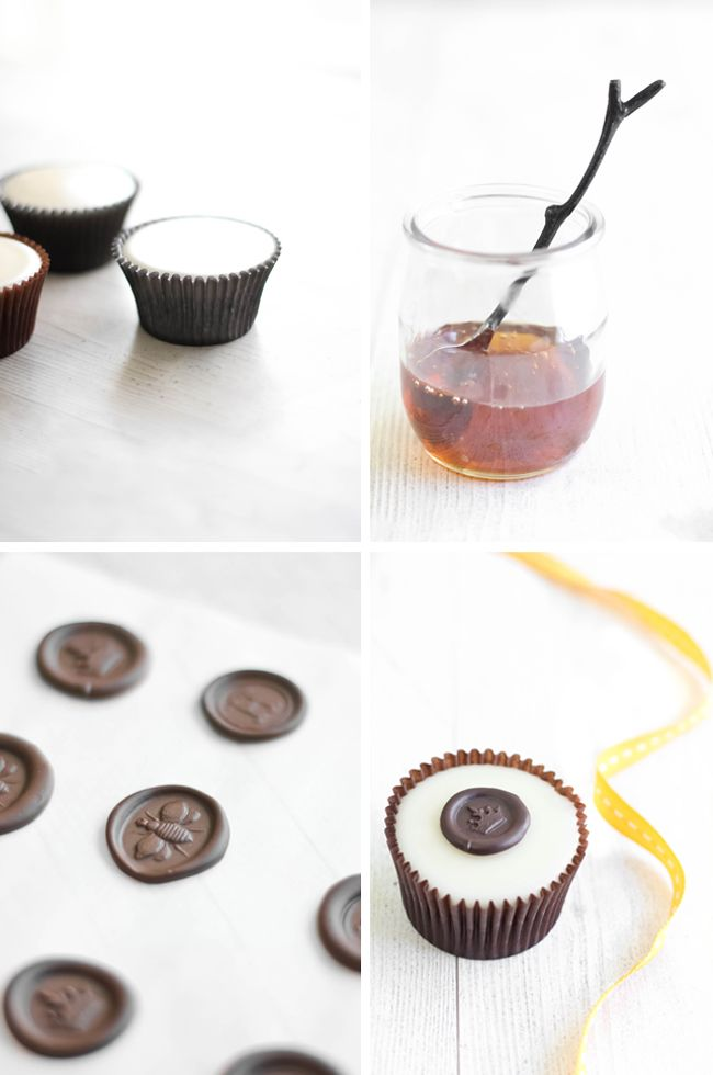 """Sprinkle Bakes: Chocolate """"Wax"""" Seals on Poured Fondant Honey Cupcakes"""