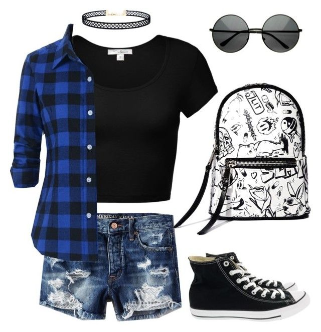 Grunge look by allydevous on Polyvore featuring polyvore, fashion, style, American Eagle Outfitters, Converse, Current Mood, LULUS and clothing