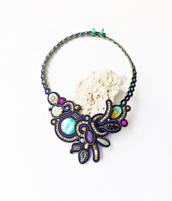 Soutache jewelry statement Soutache necklace. por Soutachebypanka