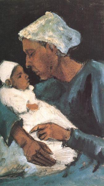Vrouw met baby op schoot, herfst 1882. In 1882 ging Vincent van Gogh samenwonen met Sien Hoornik, een voormalig prostituee.  Zij en haar pasgeboren kind stonden regelmatig model voor Vincent's experimenten met olieverf.
