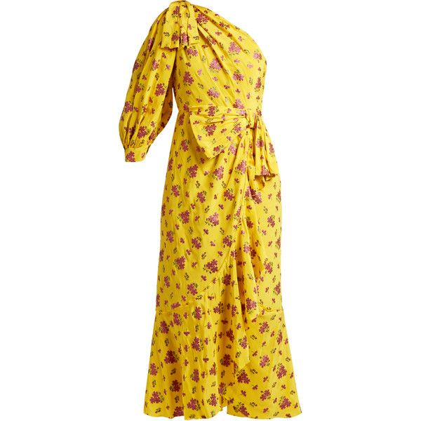 Gucci Floral fil coupé silk-blend dress ($5,890) ❤ liked on Polyvore featuring dresses, yellow, holiday dresses, ruffle sleeve dress, special occasion dresses, yellow cocktail dress and sleeved dresses
